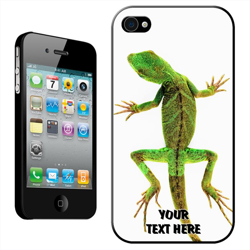 Lizard-on-White-Ground-Hard-Case-Back-Cover-For-Apple-iPhone-4-4S